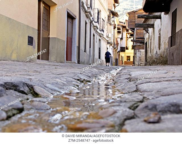Open drainage channel in the middle of the street. Valverde de la Vera, Cáceres Province, Extremadura, Spain