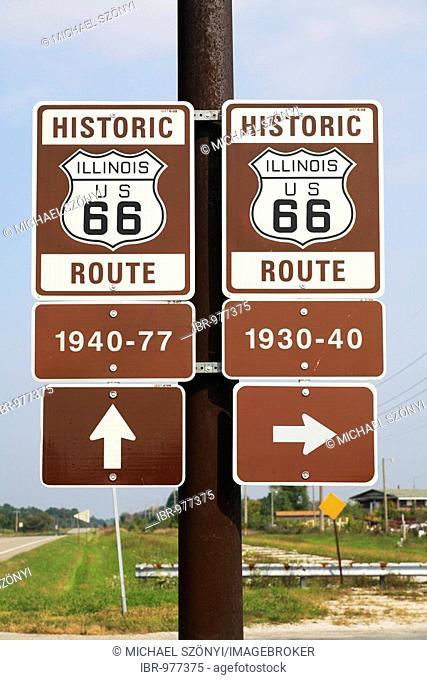 Roadsigns, different old sections of the historic Route 66 in Illinois, USA