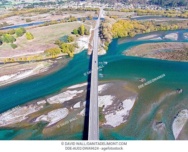 New Kurow Bridge over Waitaki River, Kurow, Waitaki Valley, North Otago, South Island, New Zealand, drone aerial