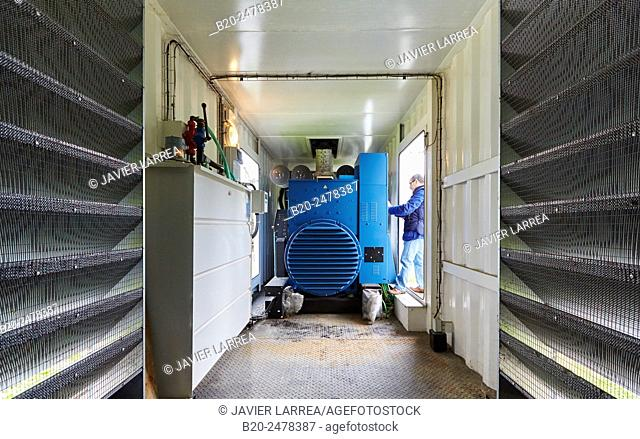 Maintenance worker, Cogeneration engine, Electric generator, uninterrupted electric service, Hospital Donostia, San Sebastian, Gipuzkoa, Basque Country, Spain