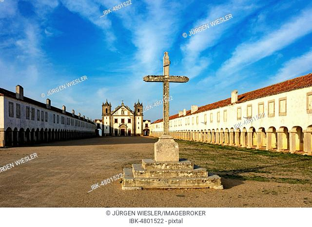 Cross in front of the pilgrimage church Nossa Senhora do Cabo, Cabo Espichel, Sesimbra, Alentejo, Portugal