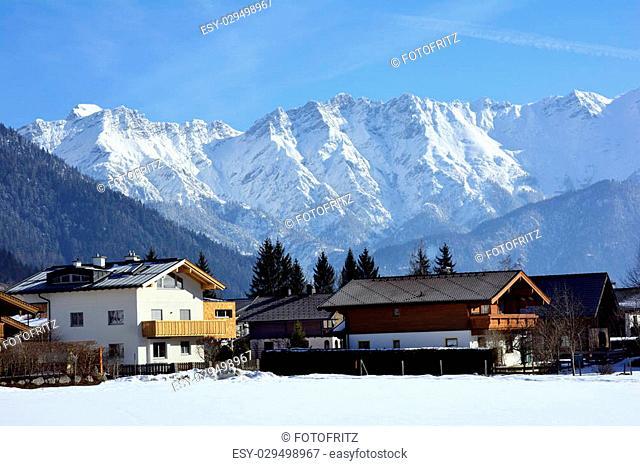 Austria, winter in Salzburg county with Hochkoenig range