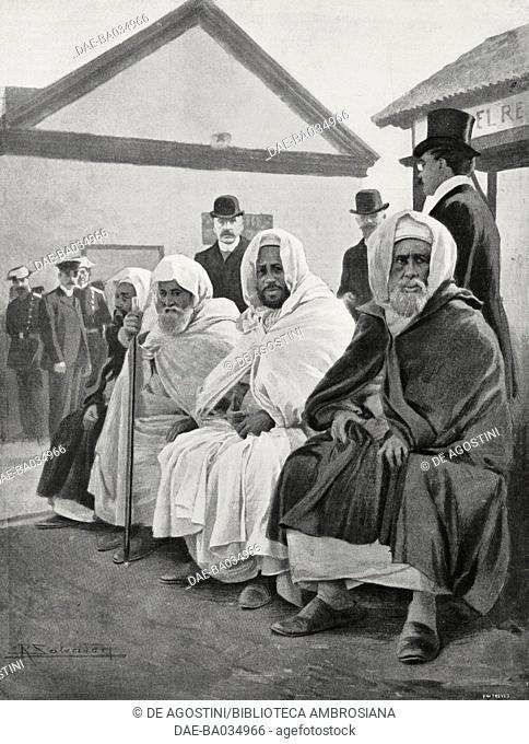 Si-Mohammed-el-Torres (centre) and Mohammed-el-Mokri (right), Moroccan delegates, waiting at the harbour for the train that will bring the foreign delegates to...