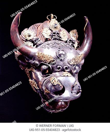 A holy water vessel in the form of a bulls head