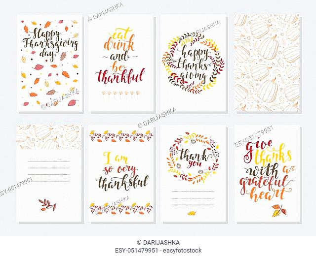 Vector Thanksgiving day invitation and greeting card, flyer, banner, poster templates. Hand drawn symbols, cute design elements, and handwritten ink lettering