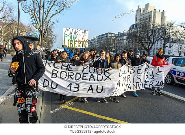 Paris, France French High School Students March from Bordeaux in Support of Charlie Hebdo Shooting Attack, 23 January 2015