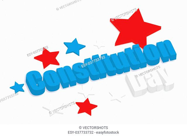 Constitution Day text vector in 3d style