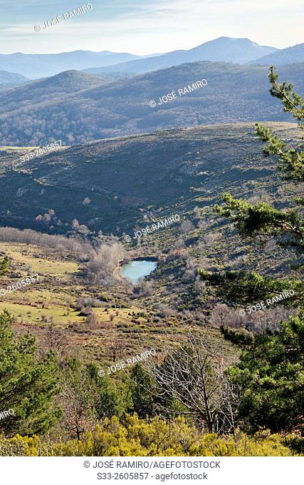 Small lagoon in the Sierra Norte. La Hiruela. Madrid. Spain. Europe