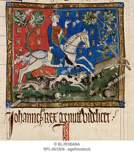 King John hunting Miniature only King John hunting a stag with hounds. Originally published/produced in England, 14th century