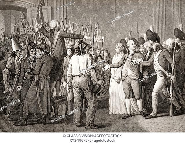 The people storm the Tuileries to confront king Louis XVI during the French Revolution. From a contemporary print