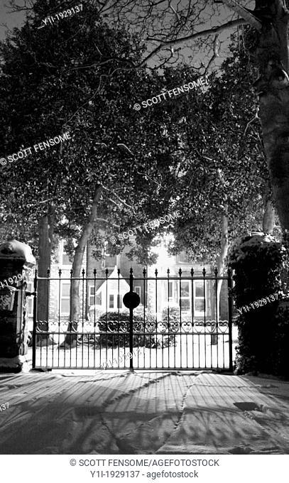 closed iron gates of house. Worksop,Notts, England, UK