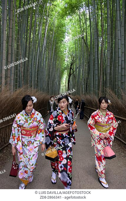 the girls with traditional dress (yukata) in the bamboo grove