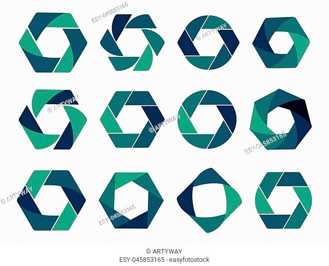Isolated abstract logo collection. Geometric logotype set on white background. Blue and green hexagons,triangles, rhombus,round shape vector illustrations