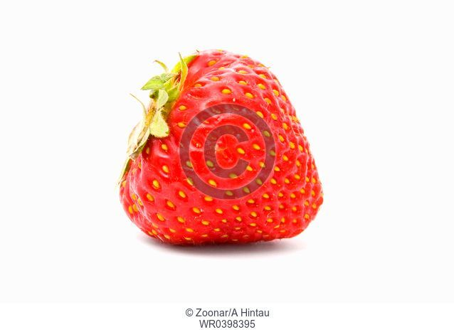 A ripe strawberry on white