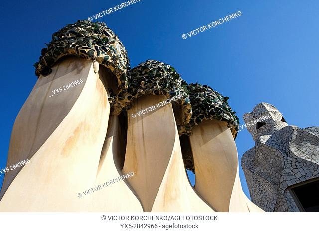 Casa Mila rooftop by Antoni Gaudi in Barcelona