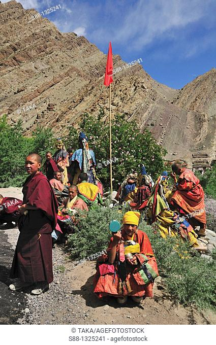 On the day to start Chaam Musk Dance Festival People are preparing and waiting Living God Rimpoche to arrive for the festival Hemis is the tiny little village...