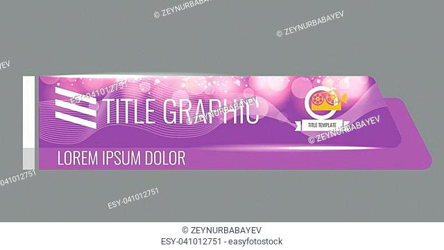 Video headline title or lower third template with flow and bokeh lights effect. Creative banner design for video. Purple color
