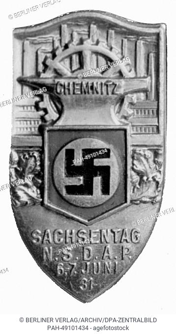 A badge for Saxony Day (Sachsentag) from the NSDAP in Chemnitz on 06 and 07 June 1931. Photo: Berliner Verlag / Archive - NO WIRE SERVICE