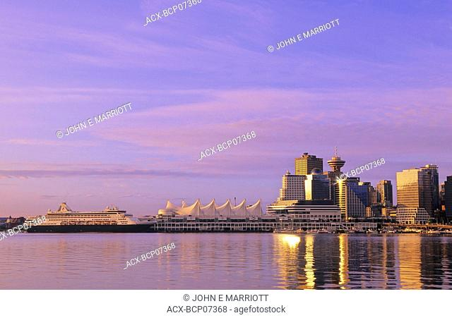Canada Place and downtown at sunrise, Vanocuver, British Columbia, Canada