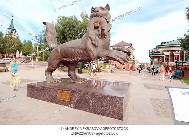 Babr (Amur tige) bronze monument, symbol of the city Irkutsk, Siberia, Russian Federation