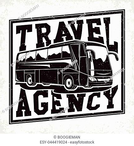 Bus travel company logo design, emblem of excursion or tourist bus rental organisation, travel agency print stamps, bus typography emblem, Vector