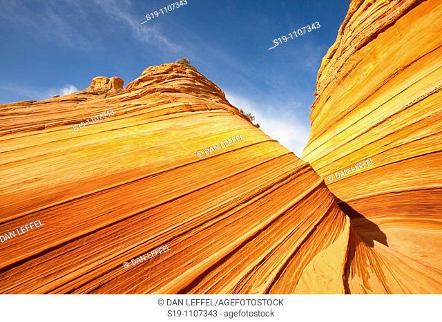 "Vermilion Cliffs Wilderness Area of northern Arizona, USA. The area is called North Coyote Buttes, and this specific rock formation is called ""the wave"""