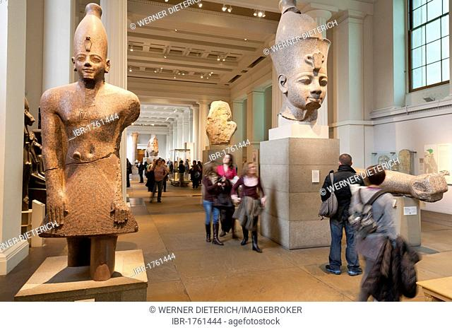 Egyptian statues in the Department of Ancient Egypt and Sudan, British Museum, People, London, England, United Kingdom, Europe