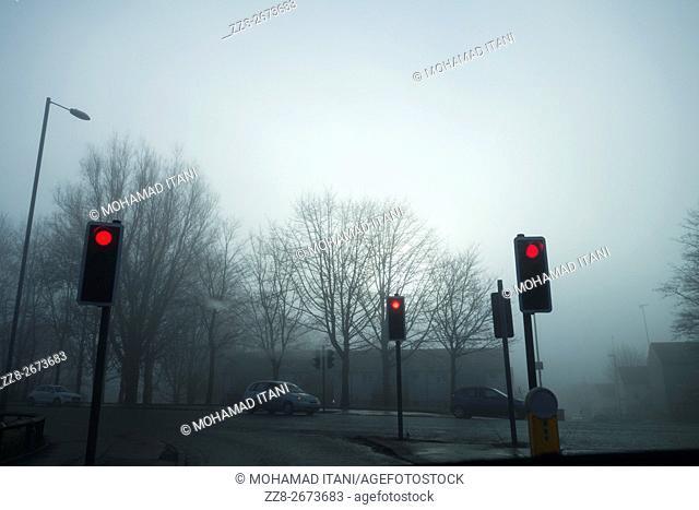 Red traffic light Manchester UK