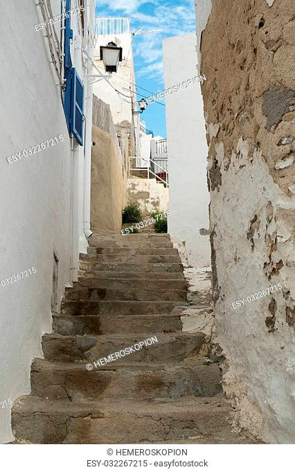 Narrow staircased street in Mojacar old town, Andalusia, Spain