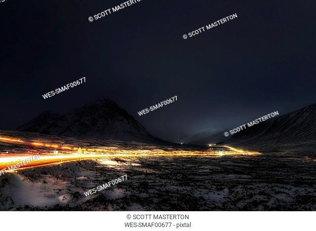 UK, Scotland, Rannoch Moor, Light Trails