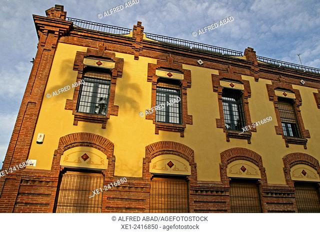 Building of La Fabrica del Sol, district of Barceloneta, Barcelona, Catalonia, Spain