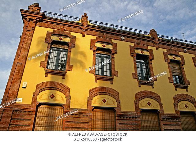Building of La Fabrica del Sol, district of Barceloneta, Barcelona, Catalonia, Spain