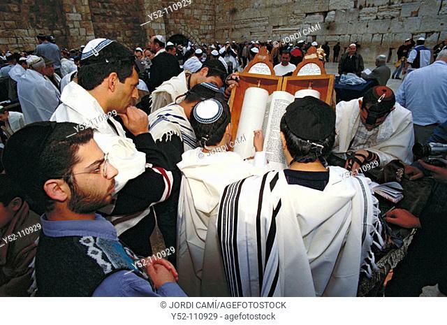Reading the Torah during 'Bar Mitzvah' ceremony. Western Wall. Jerusalem. Israel