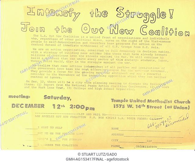 Leaflet from an antiwar protest by the Out Now Coalition during the Vietnam War, Los Angeles, California, 1964