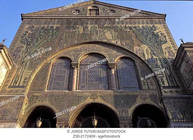 Mosaics in the Umayyad Mosque, also known as the Great Mosque of Damascus, Syria