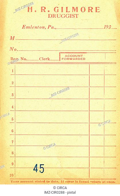 Vintage Pharmacy receipt
