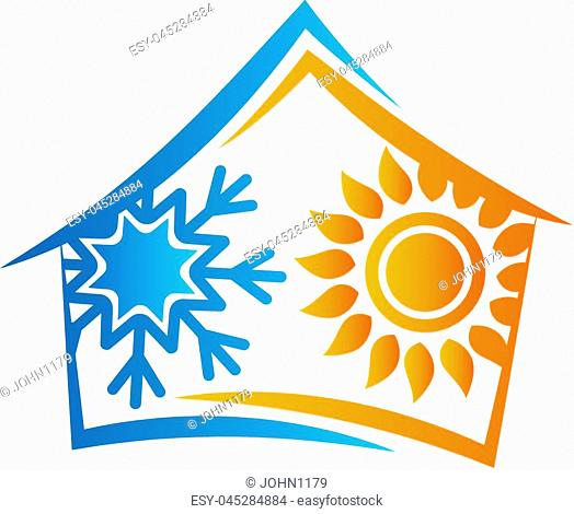 House sun and snowflake symbol for air conditioning