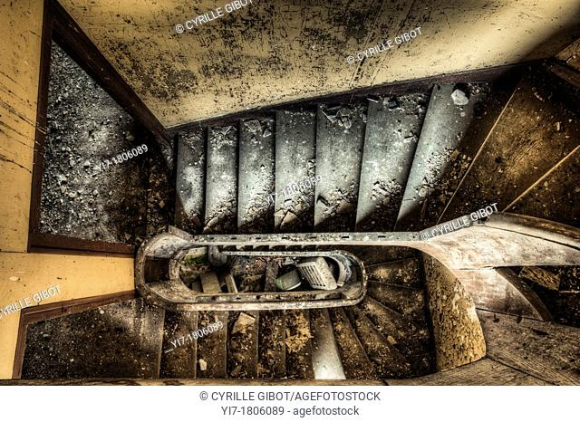 Staircase of spooky abandoned house