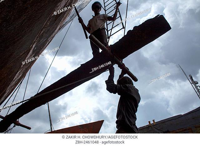 Workers working at shipyard near Dhaka, Banglasdesh