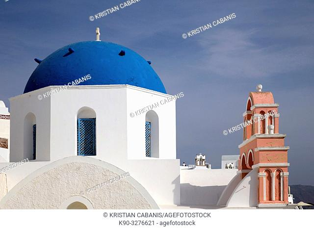 Church with blue roof and belltower, Oia, Santorin, Greece, Europe