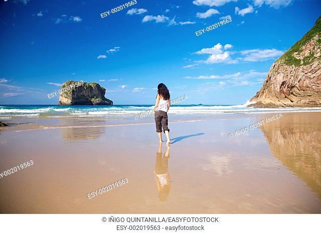 beach of Ballota near to Llanes village in Asturias Spain
