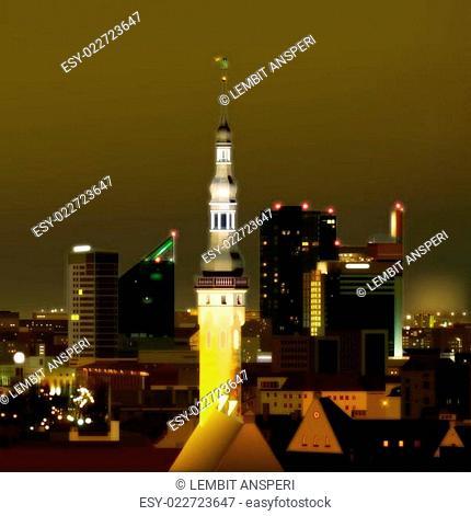 Night illumination cityscape of Tallinn city Estonia