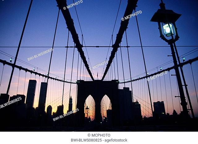 Brooklyn Bridge and skyline of New York, USA, New York
