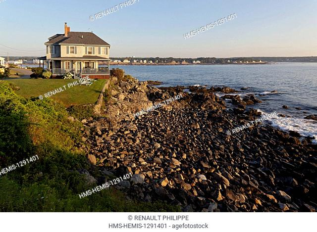 United States, Maine, York, Cape Neddick, house by the sea and beach