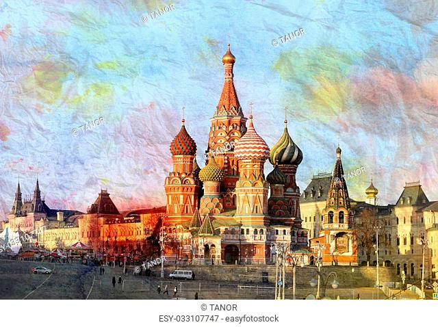 Watercolor St Basils Cathedral in Moscow at the beautiful Red Square