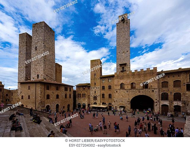 The piazza duomo and the towers of San Gimignano-Tuscany Italy, Europe