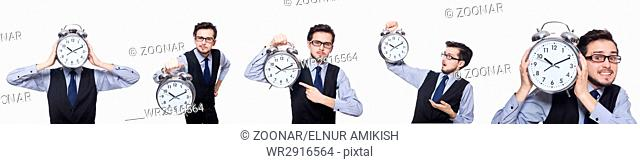 Collage of businessman with clock on white