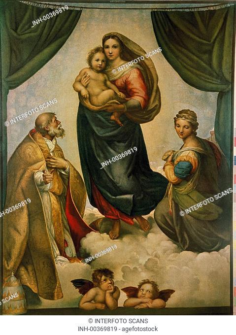 fine arts, Raffael, Raffaello Santi, 1483 - 1520, painting, Sistine Madonna, with Saints Sixtus and Barbara, 1513, oil on canvas, 265x196 cm