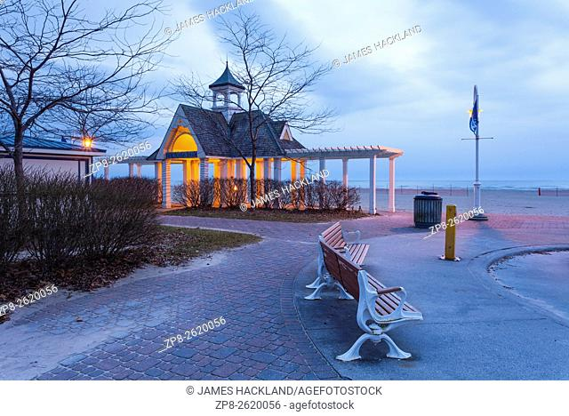 The Victoria Park entrance to Cobourg Beach in Cobourg, Ontario, Canada