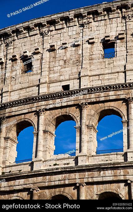 Colosseum with blue sky